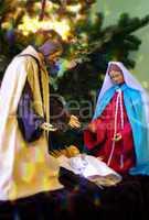 Krippe zum Weihnachtsfest mit Jesus Maria und Joseph