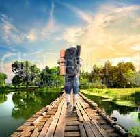 Tourist on the old bridge