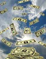 dollars flying away to the heaven