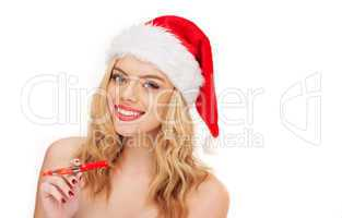 smiling woman with christmas e-cigarette