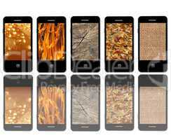 modern mobile phones with different textures