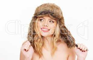 naked blonde woman in fur hat