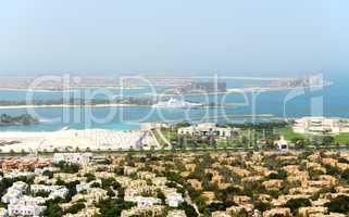 view on jumeirah palm manmade iceland dubai uae