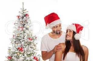 loving couple celebrating christmas
