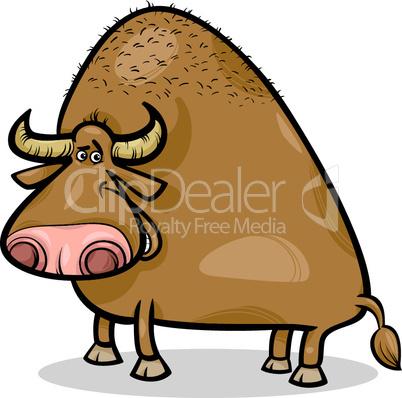 bull or buffalo cartoon illustration