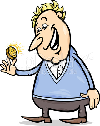cartoon man with golden coin