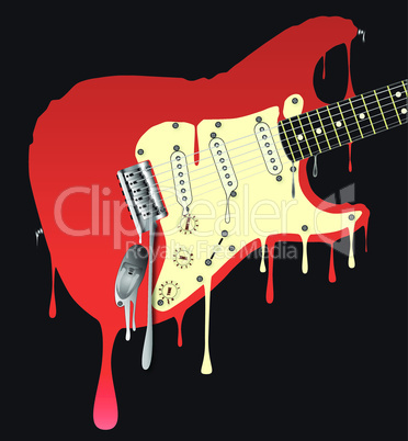 melting electric guitar