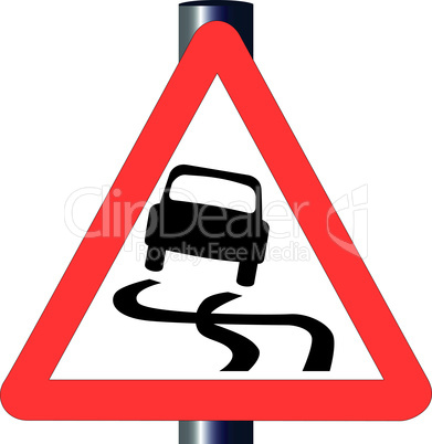 danger skiddingtraffic sign