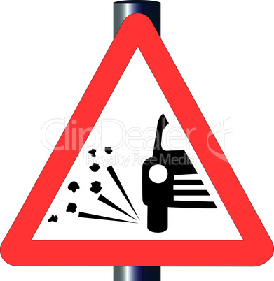 stone chipping traffic sign