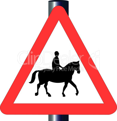 horse and rider traffic sign
