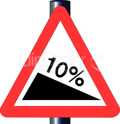 10 percent incline traffic sign