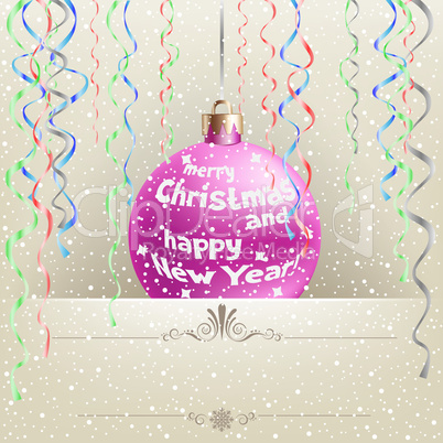 Christmas card and bauble