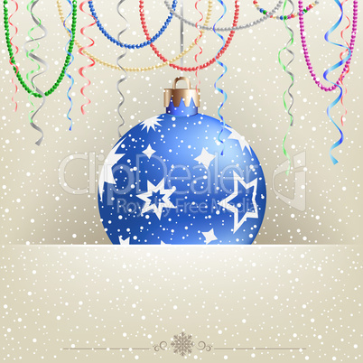 Christmas card snow and bauble