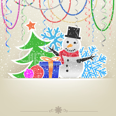 Christmas cartoon card snow and bauble