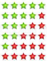 fünf sterne bewertungssystem - grün rot