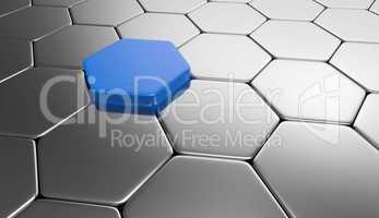 sechseck hintergrund- blau silber