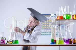 Educated girl following experimental results