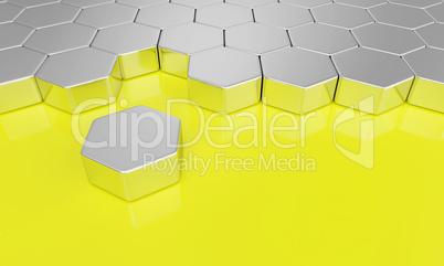 sechseck baustein konzept - silber gelb