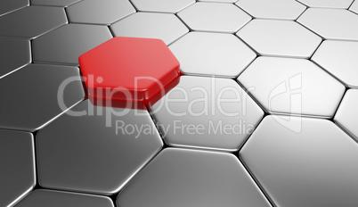 sechseck hintergrund - rot silber
