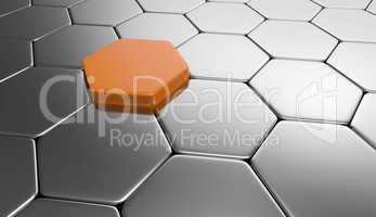 sechseck hintergrund - orange silber