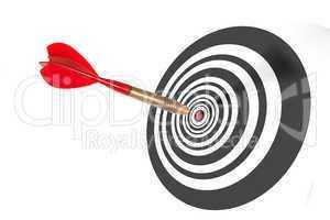 dart in the centre of a dart board