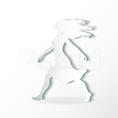 silhouettes of beautiful walking woman on the white