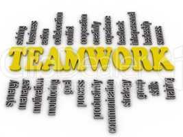 3d imagen a word cloud of teamwork related items