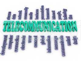 3d imagen telecommunication. word cloud concept illustration.