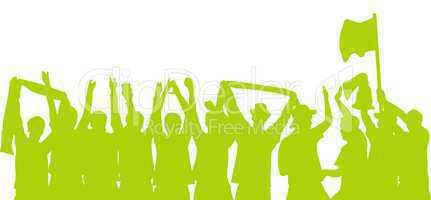 Silhouette von jubelnden Fans in grün