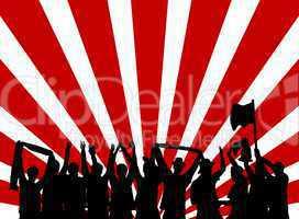 Rot-weißer Hintergrund mit Silhouette von jubelnden Fans
