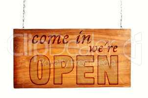 open geöffnet holz schild offen
