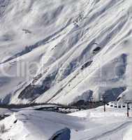 view on ski resort gudauri in sunny day
