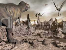 tyrannosaurus running to pteranodons - 3d render