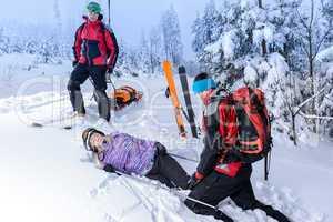 rescue ski patrol help injured woman skier