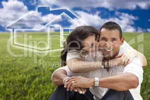 Hispanic Couple Sitting in Grass Field with Ghosted House Behind