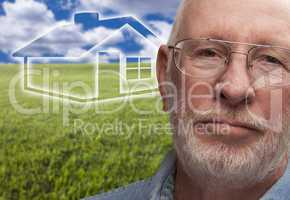 Melancholy Senior Man with Grass Field and Ghosted House Behind