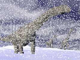 argentinosaurus dinosaur in winter - 3d render