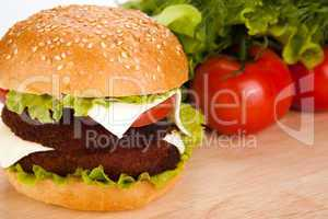 big hamburger still life on a white background