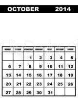 October calendar 2014