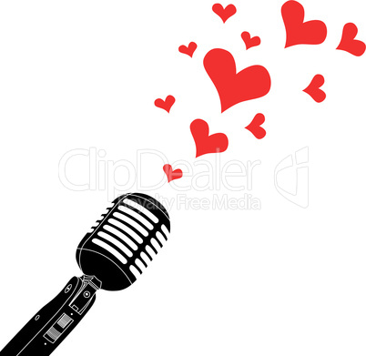 Microphone heart love valentines day vintage metallic object vector