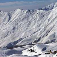 view on ski resort gudauri in sun day