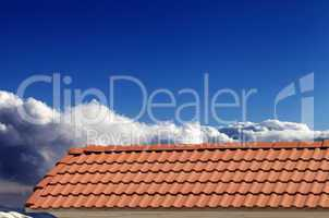 roof tiles and blue sky in nice sunny day