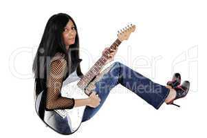 girl with guitar sitting.