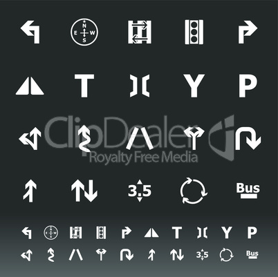 traffic sign icons on gray background