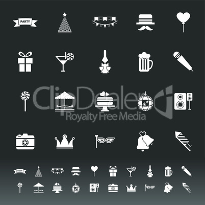 party time icons on gray background
