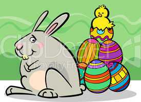 easter bunny and eggs cartoon illustration