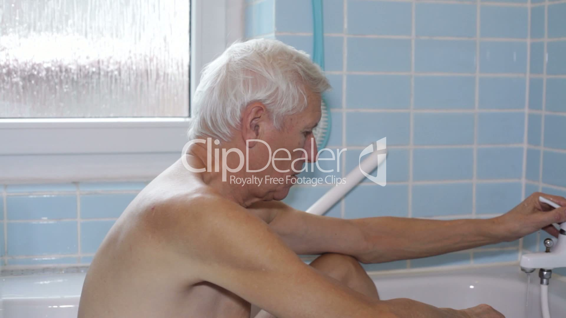 Mature men in the shower