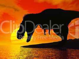 tyrannosaurus rex by sunset - 3d render
