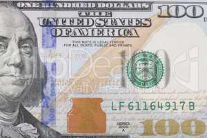 macro shot of the right half of the new 100 usa dollar bill