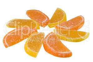 east sweets of a sweet from fruit candy in the form of orange se
